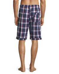 Psycho Bunny - Blue Graphic-print Woven Pajama Shorts for Men - Lyst