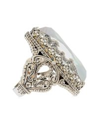 Konstantino - White Aura Silver & Mother-of-pearl Rectangle Ring - Lyst