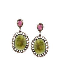 Bavna - Multicolored Sapphire & Diamond Double-drop Earrings - Lyst
