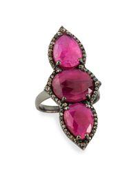 Bavna | Red Triple Composite Ruby & Diamond Cocktail Ring | Lyst