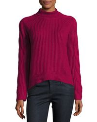 1.STATE | Pink Cable-knit Turtleneck Sweater | Lyst