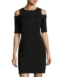 MICHAEL Michael Kors   Black Cold-shoulder Short-sleeve Dress   Lyst
