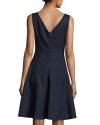 Neiman Marcus - Blue Fit & Flare V-neck Linen Dress - Lyst