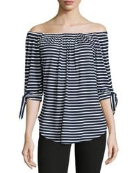 Neiman Marcus - Blue Off-the-shoulder Striped Top - Lyst