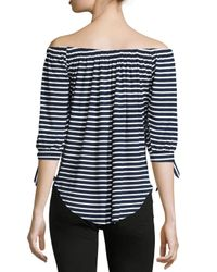Neiman Marcus | Blue Off-the-shoulder Striped Top | Lyst
