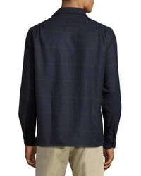 Luciano Barbera - Blue Plaid-print Cashmere-blend Shirt for Men - Lyst