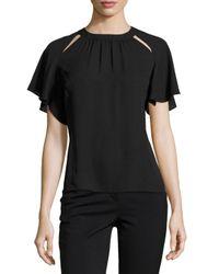 Laundry by Shelli Segal | Black Cutout-neckline Ruffle-sleeve Top | Lyst