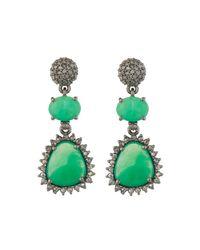 Bavna | Green Chrysoprase & Champagne Diamond Triple-drop Earrings | Lyst