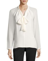 Lafayette 148 New York | Black Louise Tie-neck Silk Blouse W/ Long Georgette Sleeves | Lyst