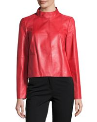 Lafayette 148 New York | Red Crawford Leather Topper Jacket | Lyst