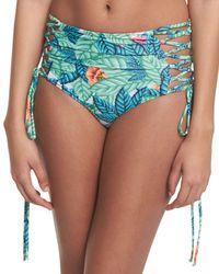 Mara Hoffman | Blue Reversible Leaf-print Lace-up High-waist Swim Bottom | Lyst