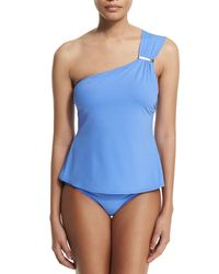 MICHAEL Michael Kors - Blue Watchband-strap One-shoulder Tankini Swim Top - Lyst