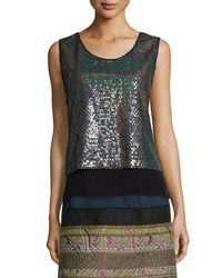 Shamask - Metallic Crepe-trimmed Allover Sequin Top - Lyst