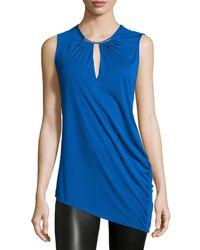 Halston | Blue Sleeveless Asymmetric Blouse | Lyst