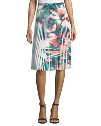 Nicole Miller | Blue Pleated Floral-print Skirt | Lyst