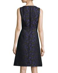 Michael Kors - Blue Sleeveless Floral-print A-line Dress - Lyst