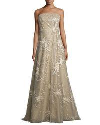 Rene Ruiz | Metallic Strapless Embroidered-splatter A-line Gown | Lyst