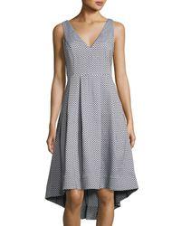 Catherine Malandrino   Blue V-neck High-low Midi Dress   Lyst