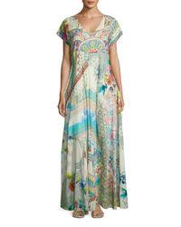 Johnny Was | Blue Leyla Short-sleeve Cotton Maxi Dress | Lyst