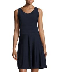 Catherine Malandrino | Blue Sleeveless Pointelle A-line Dress | Lyst