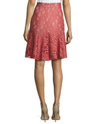 Alexis - Pink Braxten Lace Flared Godet Skirt - Lyst