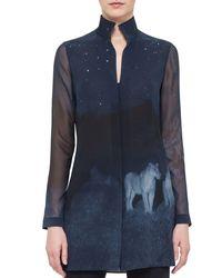Akris - Blue Night Lion-print Silk Tunic - Lyst
