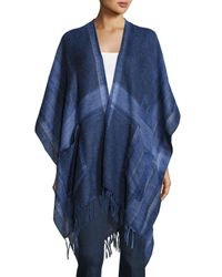 Vince Camuto   Black Woven Ikat-plaid Blanket Poncho   Lyst