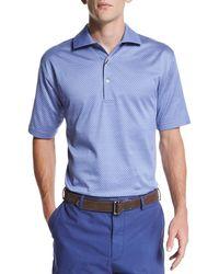 Peter Millar - Blue Jacquard-knit Short-sleeve Polo Shirt for Men - Lyst