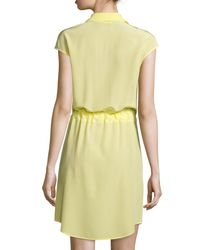 Tory Burch | Yellow Gigi Cap-sleeve Belted Shirtdress | Lyst