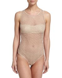 La Perla | Natural Macrame Lace Art Sheer Zip Bodysuit | Lyst