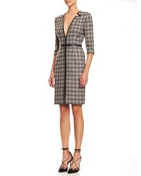 Carolina Herrera Gray Leather-trim V-neck Plaid Dress