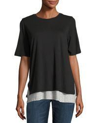 VINCE | Gray Short-sleeve Double-layer Colorblock Tee | Lyst