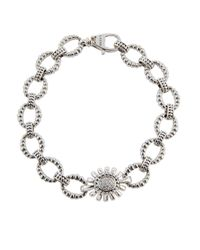Lagos | Gray Pret-a-porter Small Fluted Link Bracelet W/ Pave Diamonds | Lyst