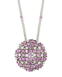Roberto Coin | 18k Pink Sapphire & White Diamond Cluster Pendant Necklace | Lyst