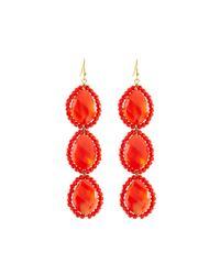Panacea - Orange Linear Crystal Beaded Triple-drop Earrings - Lyst