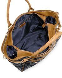 Neiman Marcus - Blue Patterned Fabric Weekender Bag - Lyst
