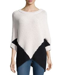 Minnie Rose | Multicolor Colorblock Poncho Sweater | Lyst