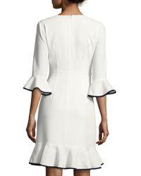 Nanette Nanette Lepore - White 3/4-sleeve Flounce-hem Dress - Lyst