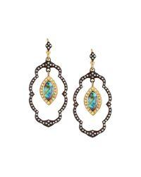 Armenta | Old World Lotus Blue Topaz Doublet Dangle Earrings W/ Diamonds | Lyst