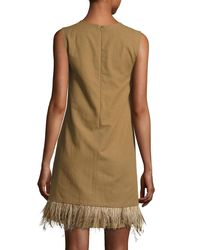 Brunello Cucinelli | Green Feather-hem Short Dress | Lyst