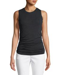 Halston Heritage Black Ruched-side Pullover Tank Top