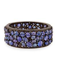 Bavna | Blue Wide Tanzanite & Diamond Hinged Bangle Bracelet | Lyst
