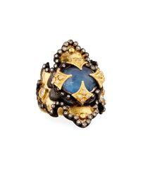 Armenta | Metallic Old World Large Iris Scroll Ring W/ Mother-of-pearl Triplet | Lyst