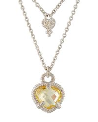 Judith Ripka - Yellow La Petite Diamond & Crystal Heart Double-strand Necklace - Lyst