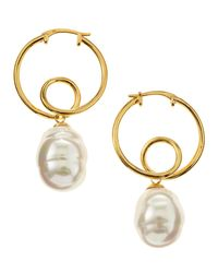 Majorica | Metallic Baroque Twisted Hoop Earrings | Lyst