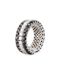 Roberto Coin - Fantasia 18k White Gold Diamond & Sapphire Band Ring - Lyst