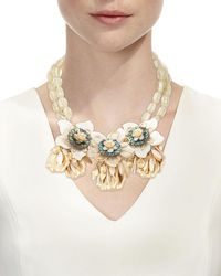 Lydell NYC - Metallic Oversized Flower Statement Bib Necklace - Lyst