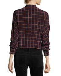 Theory - Multicolor Perfect Dolman York Plaid Blouse Top - Lyst