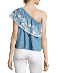 Rebecca Minkoff Rita One-shoulder Embroidered Top Light Blue