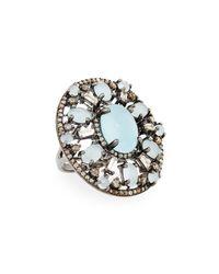 Bavna - Metallic Silver Oval Ring With Aquamarine & Diamonds Size 7 - Lyst